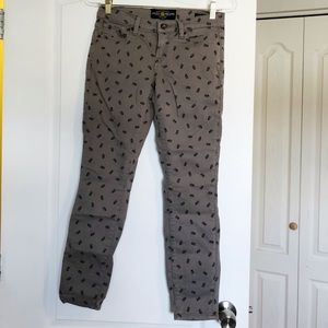 Grey Lucky Brand Skull Skinny Jeans